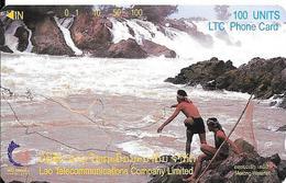 CARTE-MAGNETIQUE-LAOS-100U-1997-PECHEURS Dans Chutes Du MEKONG-TBE-RARE - Laos