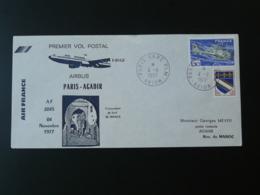 Lettre Premier Vol First Flight Cover Paris Agadir Maroc Airbus A300 Air France 1977 (ex 2) - Posta Aerea