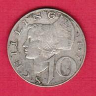 AUSTRIA  10 SCHILLINGS 1957 SILVER (KM # 2882) #5267 - Austria