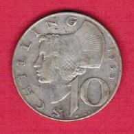 AUSTRIA  10 SCHILLINGS 1958 SILVER (KM # 2882) #5268 - Austria