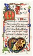 Image Pieuse  Acte De Charité Enluminure Chromo Dorures Holy Card Santino - Images Religieuses