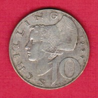 AUSTRIA  10 SCHILLINGS 1959 SILVER (KM # 2882) #5269 - Austria