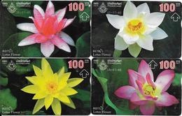 4-CARTES-HOLOGRAPHIQUE-100Baht-Série FLEURS LOTUS-de Toutes Coulors-TBE-RARE - Fleurs