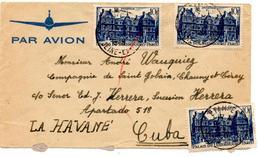 Lettre Par Avion De Etampes (30.01.1948) Pour La Havane Cuba Luxembourg - France