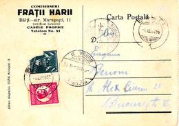ROMANIA - BALTI / MOLDOVA : PUBLICITÉ / ADVERTISING : COMISIONERI FRATII HARII (JUDAÏCA !) - ANNÉE / YEAR ~ 1935 (ac385) - Moldavie