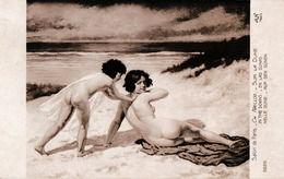 ÉROTISME / SEXY / FEMME NUE / NAKED WOMAN & NAKED CHILD : SUR LA DUNE Par CH. NAILLOD - SALON DE PARIS ~ 1910 (ac392) - Tableaux