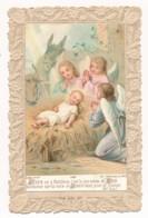 Image Pieuse Holy Card Santino Editeur Bouasse Jeune XIXe Chromo Canivet Dentelle Nativité Crèche Noël - Devotion Images