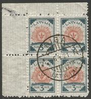 LATVIA. 1920. 3r BLOCK OF FOUR. USED - Latvia