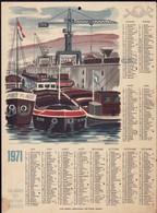 Luxembourg 1971, Calendrier Des Facteurs Des Postes, Grand Format, Port De Mertert 2 Scans - Calendriers