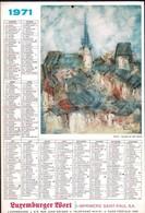 Luxembourg 1971, Calendrier Luxemburger Wort, Imprimerie St.Paul, Grand Format, Wiltz 2 Scans - Calendriers