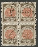 LATVIA. 1920. 5r BLOCK OF FOUR. USED - Latvia