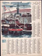 Luxembourg 1971, Calendrier Des Facteurs Des Postes, Grand Format,  Port De Mertert, 2 Scans - Calendriers