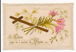 Image Pieuse Holy Card Santino XIXe Canivet Dentelle Brodée Composition Artisanale La Croix Gage De L'Amour De Dieu - Santini
