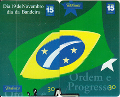 BRAZIL(Telefonica) - Puzzle Of 2 Cards, Brazilian Flag, 11/01, Used - Puzzles