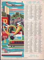 Luxembourg 1974, Calendrier Des Facteurs Des Postes, Grand Format, Fetschenhof, 2 Scans - Calendriers