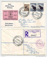ZAS14002 South Africa 1957 Registered Cover W/ Natal Exhibition Label - Addressed USA - Südafrika (...-1961)