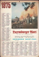 Luxembourg 1975, Calendrier Luxemburger Wort, Imprimerie St.Paul, Grand Format, Bassin Minier  2 Scans - Calendriers