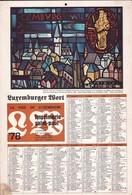 Luxembourg 1978, Calendrier Luxemburger Wort Imprimerie St.Paul, Grand Format, Cathédrale, 2 Scans - Calendars