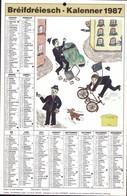 """Luxembourg 1987, Calendrier """"Bréifdréiesch-Kalenner"""" Grand Format, 2 Scans - Calendriers"""