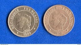 2  Cents  1883 +1896 - B. 2 Centimes