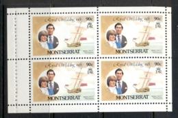 Montserrat 1981 Royal Wedding Charles & Diana 90c Booklet Pane MUH - Montserrat