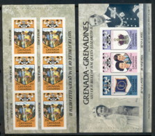 Grenada Grenadines 1977 QEII Silver Jubilee 2xP&S Booklet Panes MUH - Grenada (1974-...)