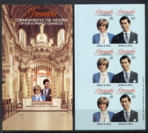 Grenada 1981 Royal Wedding Charles & Diana 2x P&S Booklet Panes MUH - Grenada (1974-...)
