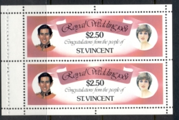 St Vincent 1981 Royal Wedding Charles & Diana $2.50 Booklet Pane MUH - St.Vincent (1979-...)