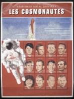 Guinea 1999 Space Exploration Cosmonauts (creased At Top) MS MUH - Guinea (1958-...)