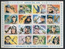 Equatorial Guinea 1974 Heroes Of The Air Sheet CTO - Equatorial Guinea