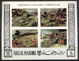 Ras Al Khaima 1969 Mi#MS70b Paintings Of The Four Seasons By Grimmer IMPERF MS MUH - Ruanda-Urundi