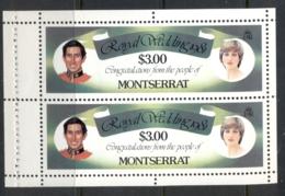 Montserrat 1981 Royal Wedding Charles & Diana $3 Booklet Pane MUH - Montserrat