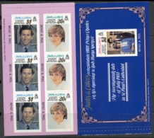 Turks & Caicos Is 1981 Royal Wedding Charles & Diana 2x P&S Booklet Panes MUH - Turks & Caicos