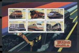 Gambia 1998 Trains Of The World Sheetlet MUH - Gambia (1965-...)