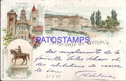 113451 SWITZERLAND GENEVE ART ST PIERRE BRIDGE AND MULTI VIEW CIRCULATED TO ARGENTINA  POSTAL POSTCARD - Switzerland