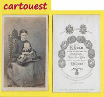 ֎ Photographie Albumen ֎ CDV Circa 1870 E.ADAM à COLMAR Portrait  Femme & Bébé ֎ - Photographs