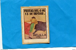 ESPAGNE- Corrida-vignette- Vinetas- MELILLA-Fiesta 1931-toréador Faisant Une Passe - Otros