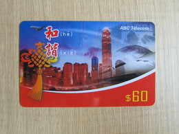 Prepaid Phonecard, Hongkong Skyline,airplane, Express Train,the Great Wall,used - Hong Kong