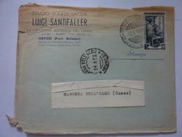 """Busta Viaggiata """"STUDIO D' ARTE SACRA LUIGI SANTIFALLER ORTISEI ( Prov. Bolzano"""" 1953 - 6. 1946-.. Repubblica"""
