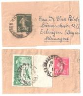 CHARTRES RP Bande De Journal 2c Semeuse Yv 278 BJ 1 Dest Allemagne Compl Yv PA  Tf Etranger 1 12 1938 PA 8 278B - Bandes Pour Journaux