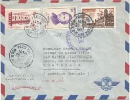 CHOPIN 20FR + 15FR+25FR LETTRE AVION PARIS 128 25.1.1957 POUR GUATEMALA AU TARIF - Marcophilie (Lettres)