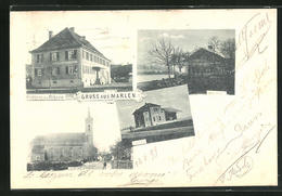 AK Marlen, Gasthaus Zum Ochsen, Bahnhof, Kirche - Germany