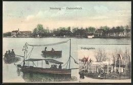 AK Nürnberg, Gasthaus Volksgarten, Elektr. Fernlenkboot Auf Dem Dutzendteich - Nuernberg