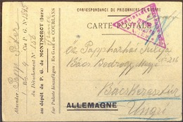 FRANCE - HUNGARY - PRISONNIERS DE GUERRE DE LA  XI. REGION MONTMOROT JURA  - 1918 - DAR - WW1 (I Guerra Mundial)