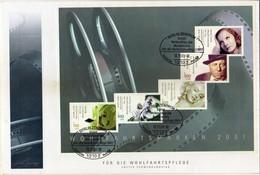 Germany 2001 FDC Big Cover - 2001 International Movie-stars.film.cinema,Charles Chaplin,Marilyn Monroe,Greta Garbo... - Covers & Documents
