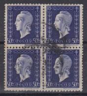 FRANCE 1945 :  Marianne De Dulac, Bloc De 4 Du Y&T 701 Oblitéré - France