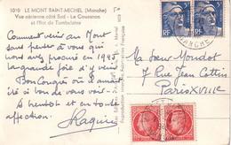 MANCHE - MONT ST MICHEL - MAZELLIN 1f EN PAIRE + GANDON 5Fx2 - 2-4-1949 - Postmark Collection (Covers)