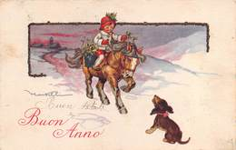 """M08174 """"BUON ANNO"""" BAMBINA A CAVALLO E CANE  CART. POST. ORIG. SPEDITA 1924 - Anno Nuovo"""