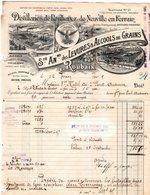 19091 Facture  Roubaix Distilleries De Roubaix & De Neuville En Ferrain Levures & Alcools De Grains C1909 Tel.n°21 - France