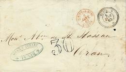 """1862 - Lettre De TUNIS  Cad T22  + Cad Rouge """"TUNIS PAR BONE ./ ALGERIE  + Taxe Dt 30 Pour Oran - 1849-1876: Classic Period"""